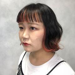オレンジ モード 前髪あり ダブルカラー ヘアスタイルや髪型の写真・画像
