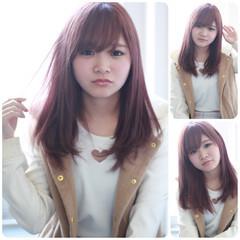 セミロング 外国人風 ピュア ピンク ヘアスタイルや髪型の写真・画像