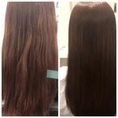 ナチュラル ストレート 縮毛矯正 セミロング ヘアスタイルや髪型の写真・画像