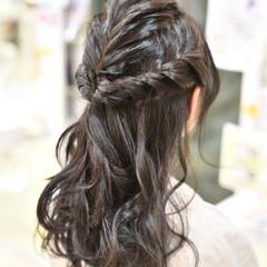 謝恩会 結婚式 ロング フィッシュボーン ヘアスタイルや髪型の写真・画像