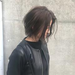 ナチュラル ウェットヘア ボブ 抜け感 ヘアスタイルや髪型の写真・画像