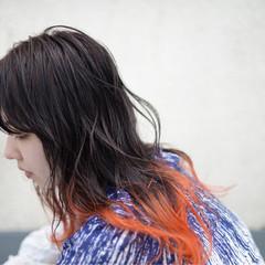 イエロー グラデーションカラー オレンジ ストリート ヘアスタイルや髪型の写真・画像