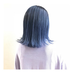 ブルー ストリート ボブ ネイビー ヘアスタイルや髪型の写真・画像