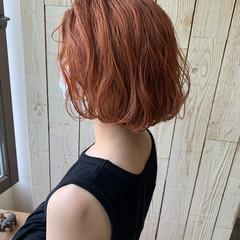 ボブ ショートヘア オレンジカラー オレンジベージュ ヘアスタイルや髪型の写真・画像