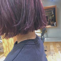 ピンクバイオレット ピンクカラー ボブ ピンクパープル ヘアスタイルや髪型の写真・画像