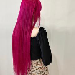 ロング ガーリー カラーバター ベリーピンク ヘアスタイルや髪型の写真・画像