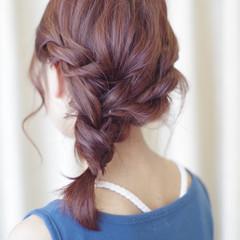 編み込み ヘアアレンジ ミディアム パーティ ヘアスタイルや髪型の写真・画像