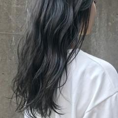 グレージュ 黒髪 ロング ナチュラル ヘアスタイルや髪型の写真・画像