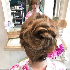 和装 アップスタイル 夏 ミディアム ヘアスタイルや髪型の写真・画像