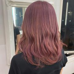 ピンクブラウン ピンクアッシュ ピンク ピンクベージュ ヘアスタイルや髪型の写真・画像