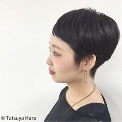 ショート 黒髪 暗髪 アッシュ ヘアスタイルや髪型の写真・画像