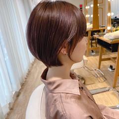 ショート 小顔ショート ショートボブ 簡単ヘアアレンジ ヘアスタイルや髪型の写真・画像