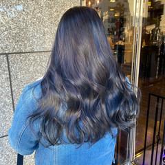ブルーアッシュ ブルーブラック ネイビーブルー ロング ヘアスタイルや髪型の写真・画像