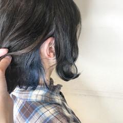 インナーカラー ボブ モード ウェーブ ヘアスタイルや髪型の写真・画像