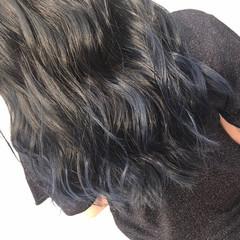 ネイビーカラー ロング ブルーグラデーション グラデーションカラー ヘアスタイルや髪型の写真・画像