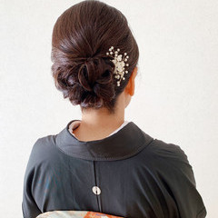 黒留袖 結婚式ヘアアレンジ 結婚式 ミディアム ヘアスタイルや髪型の写真・画像