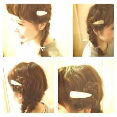 フェミニン 簡単ヘアアレンジ ショート ゆるふわ ヘアスタイルや髪型の写真・画像