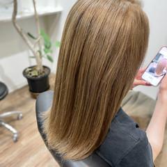 ロング ベージュ ヌーディーベージュ ストリート ヘアスタイルや髪型の写真・画像