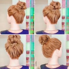 フェミニン 三つ編み ヘアセット アップスタイル ヘアスタイルや髪型の写真・画像