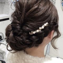 結婚式 ナチュラル ルーズ 編み込み ヘアスタイルや髪型の写真・画像