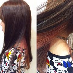 ピンク インナーカラー ガーリー レッド ヘアスタイルや髪型の写真・画像