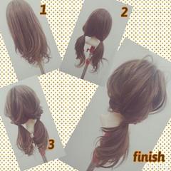 フェミニン ヘアアレンジ セミロング くるりんぱ ヘアスタイルや髪型の写真・画像