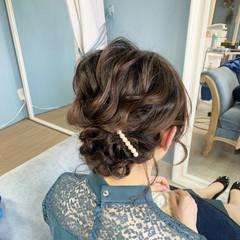 結婚式ヘアアレンジ ヘアセット ミディアム ふわふわヘアアレンジ ヘアスタイルや髪型の写真・画像