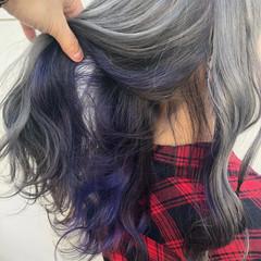ラベンダー パープル セミロング インナーカラー ヘアスタイルや髪型の写真・画像
