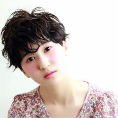 暗髪 ショート 黒髪 ナチュラル ヘアスタイルや髪型の写真・画像