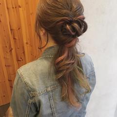 ゆるふわ ピンク ヘアアレンジ インナーカラー ヘアスタイルや髪型の写真・画像