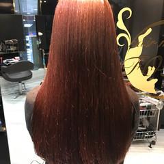 モード ロング ピンク レッド ヘアスタイルや髪型の写真・画像