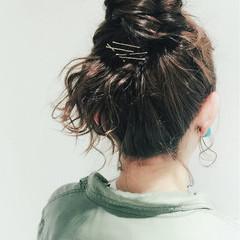 ミディアム グレージュ 簡単ヘアアレンジ 夏 ヘアスタイルや髪型の写真・画像