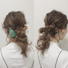 シニヨン ミディアム ヘアアレンジ ショート ヘアスタイルや髪型の写真・画像