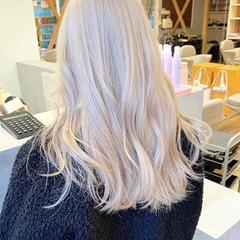 ストリート ホワイトカラー ブロンドカラー ハイトーンカラー ヘアスタイルや髪型の写真・画像