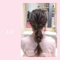 ヘアアレンジ ショート セミロング 三つ編み ヘアスタイルや髪型の写真・画像