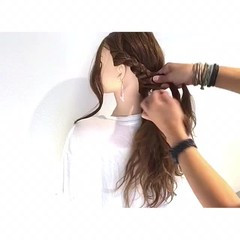 ロング デート 三つ編み 結婚式 ヘアスタイルや髪型の写真・画像