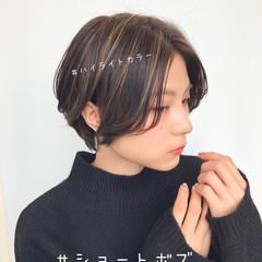 ショート ショートボブ 透明感カラー ナチュラル ヘアスタイルや髪型の写真・画像