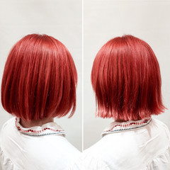 モード ボブ ブリーチ レッド ヘアスタイルや髪型の写真・画像