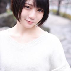 ナチュラル 黒髪ショート 黒髪 ショートヘア ヘアスタイルや髪型の写真・画像