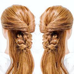 ヘアアレンジ 簡単ヘアアレンジ 三つ編み ハーフアップ ヘアスタイルや髪型の写真・画像