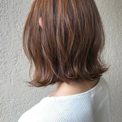 ボブ ミルクティーベージュ 夏 ベージュ ヘアスタイルや髪型の写真・画像