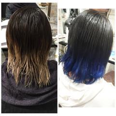 ストリート 外国人風 ブルー グラデーションカラー ヘアスタイルや髪型の写真・画像