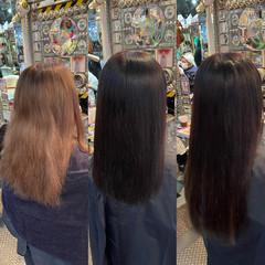 エクステ ロング ナチュラル アッシュブラック ヘアスタイルや髪型の写真・画像