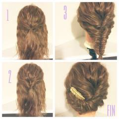 ロング ショート 簡単ヘアアレンジ 波ウェーブ ヘアスタイルや髪型の写真・画像