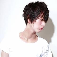 ナチュラル 黒髪 ショート ウェットヘア ヘアスタイルや髪型の写真・画像