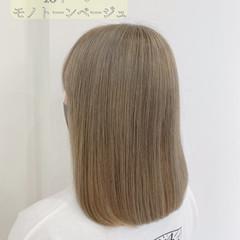 透明感カラー シルバーグレージュ ミルクティーベージュ ベージュ ヘアスタイルや髪型の写真・画像