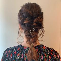 フェミニン ミディアム ヘアセット ヘアアレンジ ヘアスタイルや髪型の写真・画像