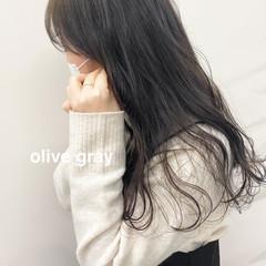 ブリーチなし オリーブブラウン 韓国風ヘアー セミロング ヘアスタイルや髪型の写真・画像