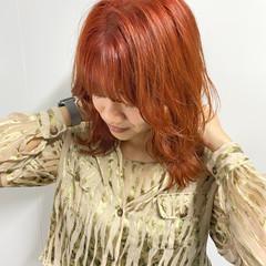 オレンジ ガーリー ウルフカット オレンジベージュ ヘアスタイルや髪型の写真・画像