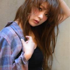 モテ髪 シースルーバング 大人かわいい セミロング ヘアスタイルや髪型の写真・画像